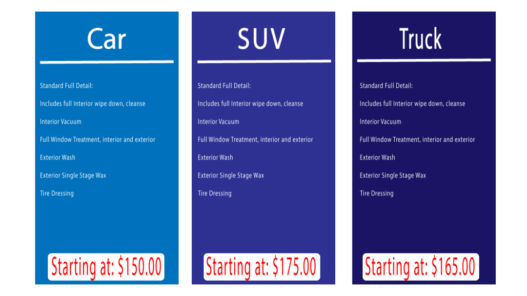 Pricing – Rousch Auto Detail